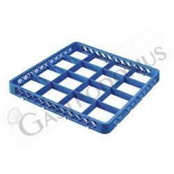 Aufsatzrand für Gläserkorb – blau – 16 Fächer – H 45 mm