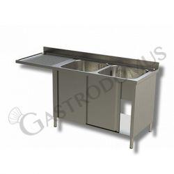 Spülschrank – Spülmaschinenfach – 2 Becken – Ablage links – B 1700 mm x T 700 mm x H 950 mm