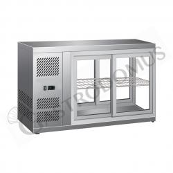 Tischkühlvitrine – Umluftkühlung – Edelstahl – Schiebetüren – Kapazität 110 L – Temperaturbereich +2°C/+8°C