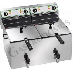 Tischfritteuse – elektrisch – 2 Becken – Kapazität 10 L + 10 L – 6000 W + 6000 W