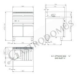 Schranktisch aus Edelstahl – 2 Schiebetüren – B 1500 mm x T 800 mm x H 850 mm