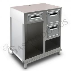 Kühltisch mit 2 Türen und Rückwand 700 mm tief - Temperatur 0°C/+10°C - Fernmotor