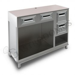 Kühltisch –  4 Türen - Aufkantung– Tiefe 700 – Temperatur 0°C/+10°C - Fernmotor