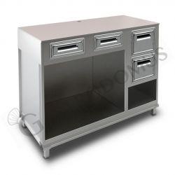 Kühltisch –  3 Türen – Aufkantung Tiefe 700 – Temperatur -18°C/-22°C - Fernmotor
