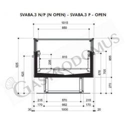 Edelstahl – Aufsatzborde – B 2000 mm x T 350 mm x H 400 mm