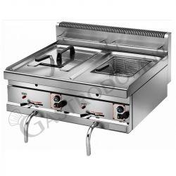 Tischfritteuse – Gas – 2 Becken – Kapazität 10 L + 10 L – 6900 W + 6900 W