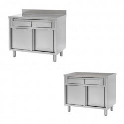 Schranktische mit horizontalen Türen und Schubladen